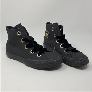 Converse black leather high tops Fancy laces